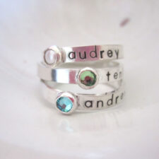 Personalized Birthstone Name Ring