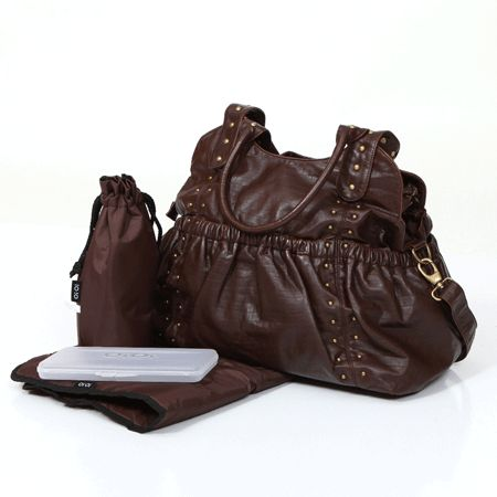 oi oi 6364 chocolate leatherette tote bag