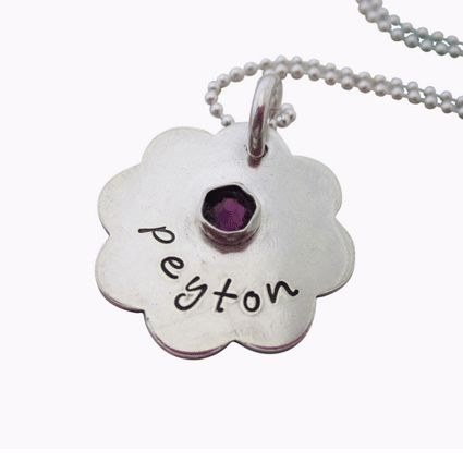 Personalized Flower Disc Birthstone Necklace