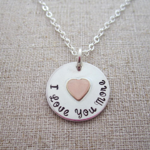 I Love You More Necklace with Gold Heart