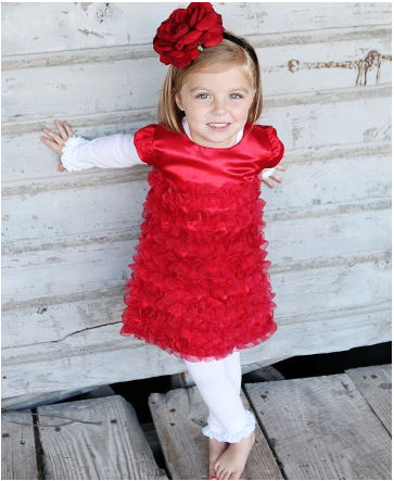 Red Satin Ruffle Dress for Girls