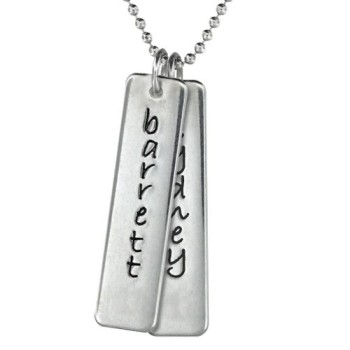 Two Silver Tag Mom Necklace