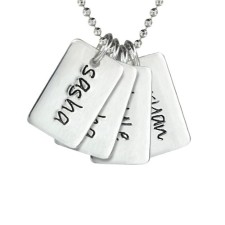 Four Mini Dog Tag Necklace