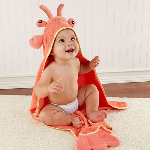 Lobster Hooded Bath Towel for Baby- Trendy Baby Clothes, Baby Gifts & Personalized Jewelry