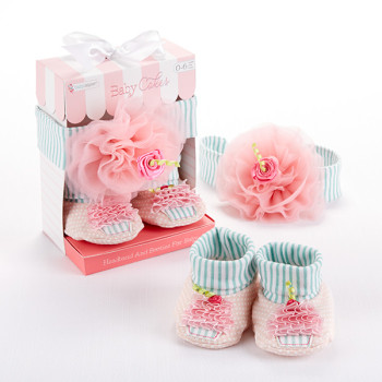 Headband and Bootie Cupcake set for Baby Girl