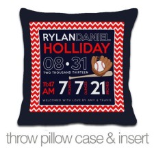 navy birth announcement pillow