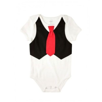 baby onesie with vest and tie