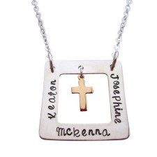 Eternity SQUARE with Gold Fill Cross Charm Personalized Necklace