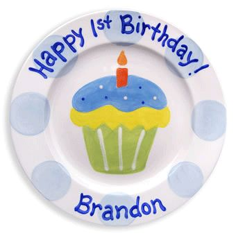 first birthday boy cupcake personalized plate