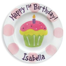 first birthday girl cupcake personalized plate