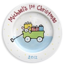 baby boys first christmas wagon kids plate