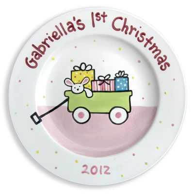 baby girls first christmas wagon kids plate