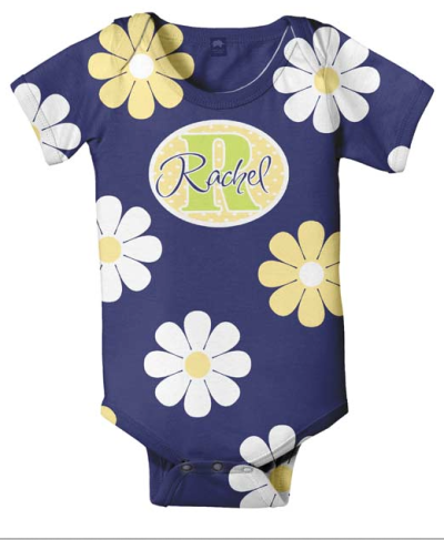 Personalized Onesie in Purple with Flowers