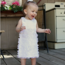 White Satin Ruffle Dress for Girls