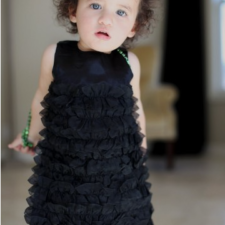 Black Satin Ruffle Dress for Girls