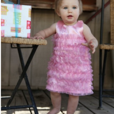 Pink Satin Ruffle Dress for Girls