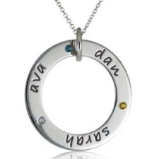 Three Name Birthstone Loop Necklace