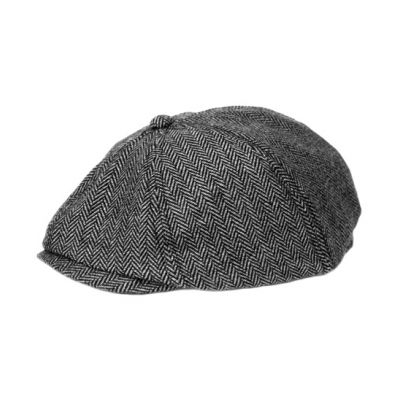 Black and Gray Herringbone Kids Newsboy Cap