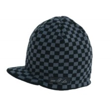 black and gray checkered beanie