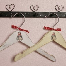 Vintage style Firetruck wooden baby hangers