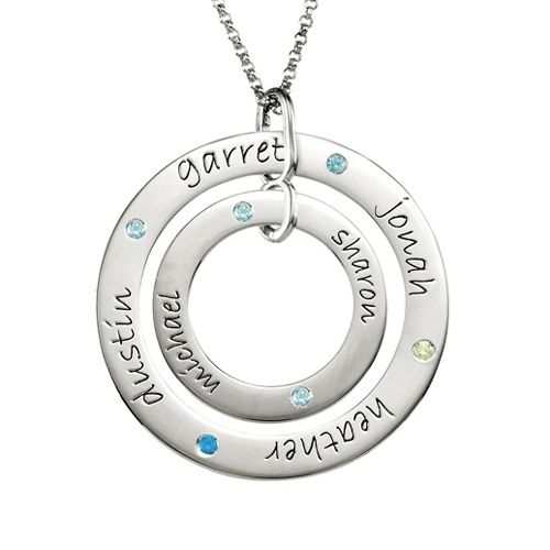 Personalized Double Loop Birthstones Necklace