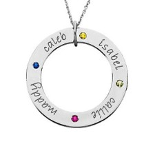 Four Name Birthstone Loop Necklace