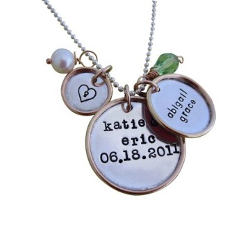 gold rimmed disc Necklace and charms 1