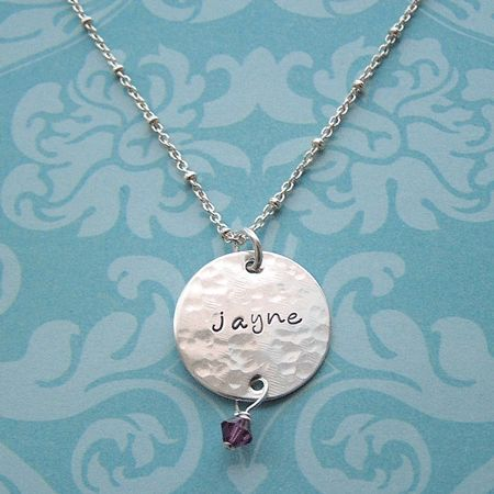 Disc Necklace with Birthstone