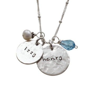Hammered Charming Duo Moms Necklace