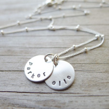 Mini Disc Personalized Mom Necklace