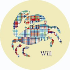 madras crab blue plate - personalized