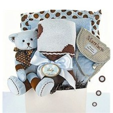 Deluxe Dot Baby Boy Gift Basket