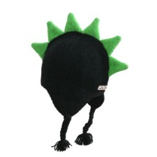 Mohawk hat with black and green spikes