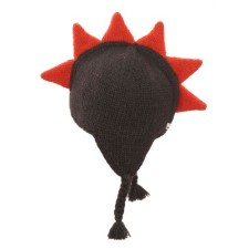 Brown Mohawk Hat with Orange Spikes