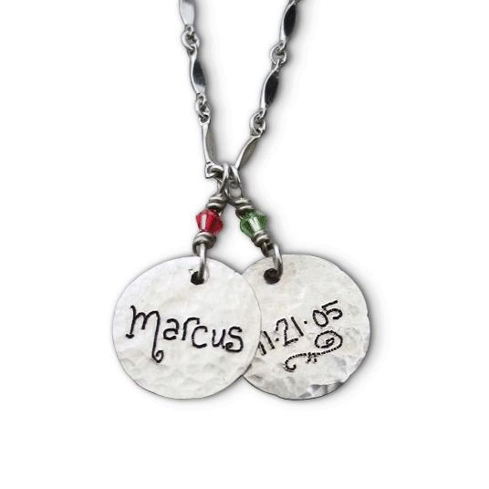 a mom's personalized silver name charm necklace