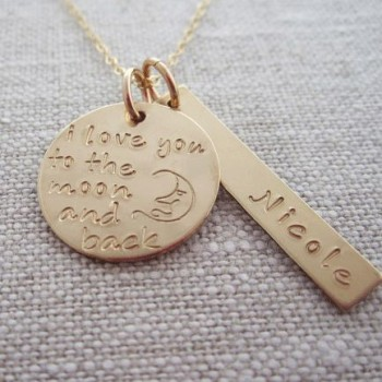 Personalized Moon and Back Necklace
