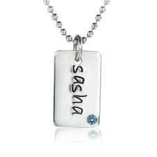 One Mini Dog Tag Birthstone Necklace