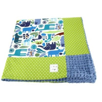 blue zoo retro baby blanket