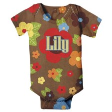 retro flower personalized onesie
