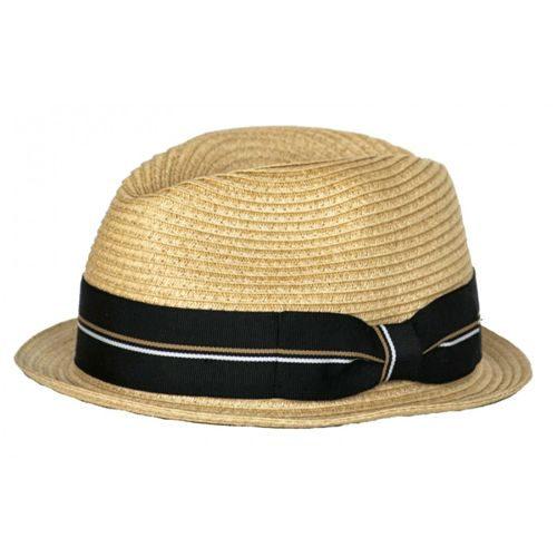 straw fedora with black stripe