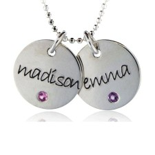 Two Disc Birthstone Necklace