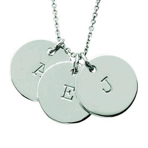Three Block Initial Disc Necklace