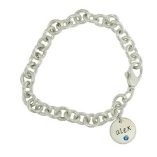 personalized birthstone disc bracelet for moms