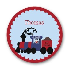 Personalized train boy plate
