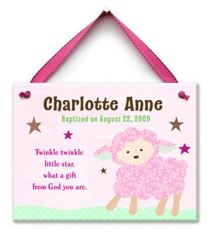 Twinkle Little Lamb Girl Baptism Tile