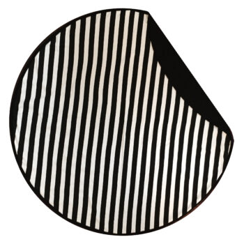 Round Baby Blanket in Black and White Stripe