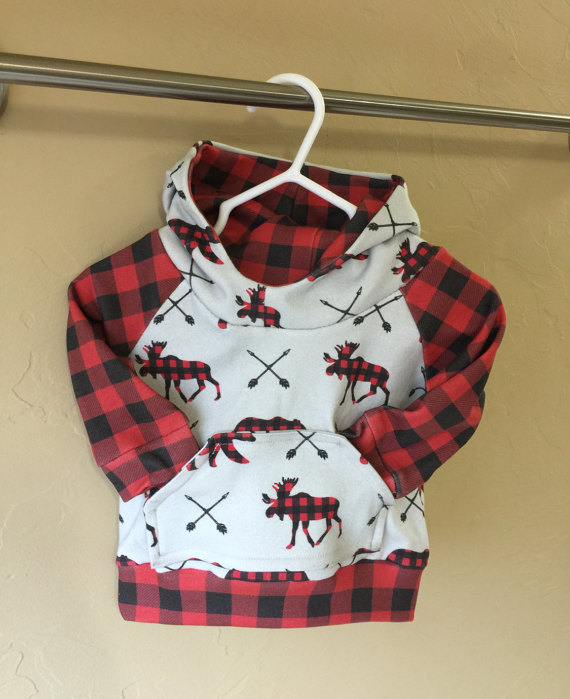 Red Moose Plaid Hoodie for Baby
